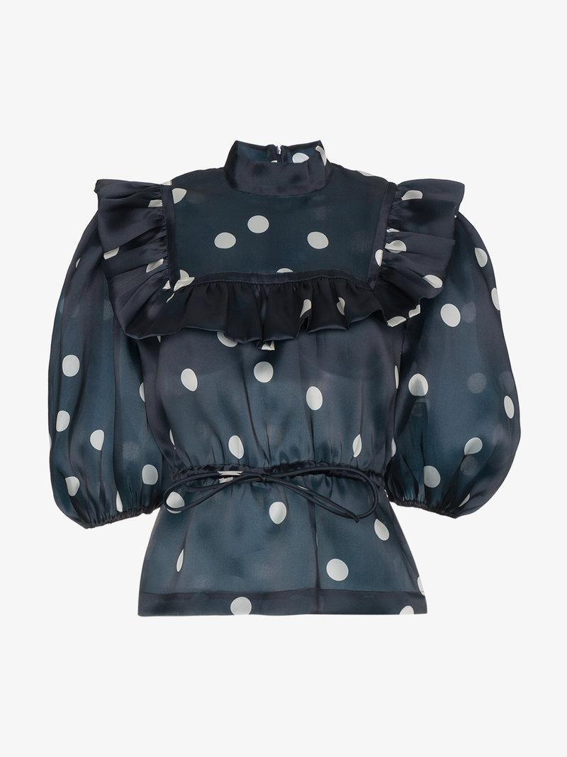 e89bd27b1ca4cf Ganni Ruffled Polka-Dot Silk-Organza Top In Midnight Blue | ModeSens