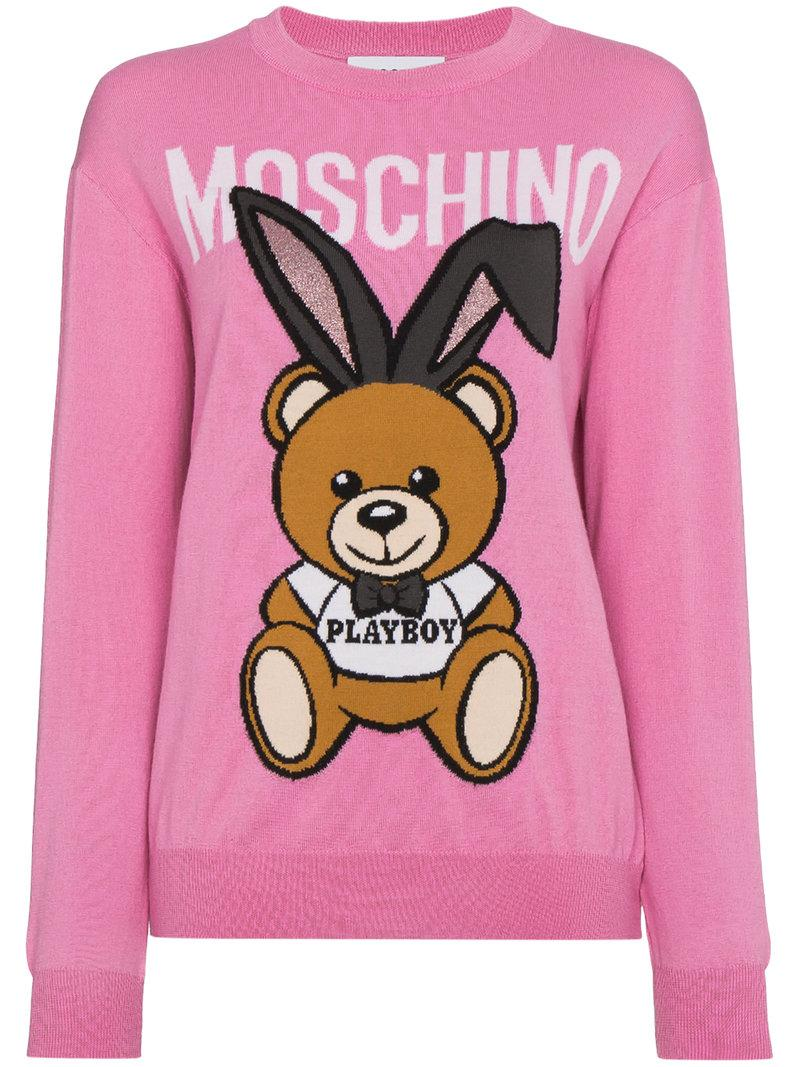 478d9cfc3c4 Moschino Playboy Toy Bear Intarsia Sweater In Pink   Purple