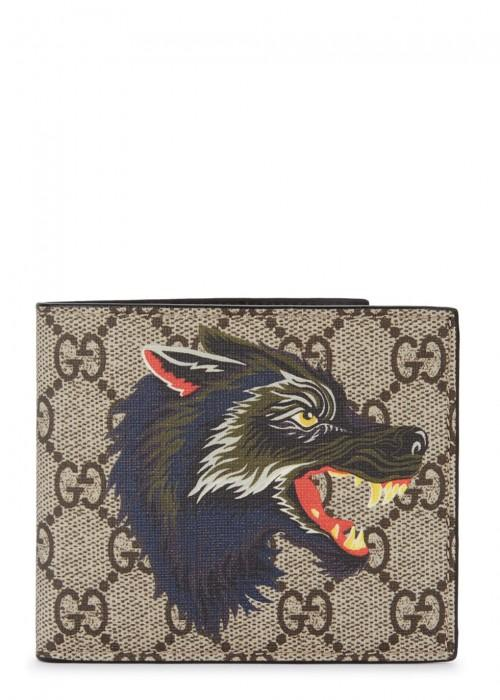 6f5bb18ba659 Gucci Wolf Printed Gg Supreme Classic Wallet In Beige Multi | ModeSens