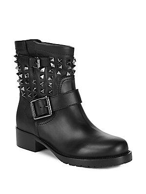Valentino Rockstud Ankle Boots In Black