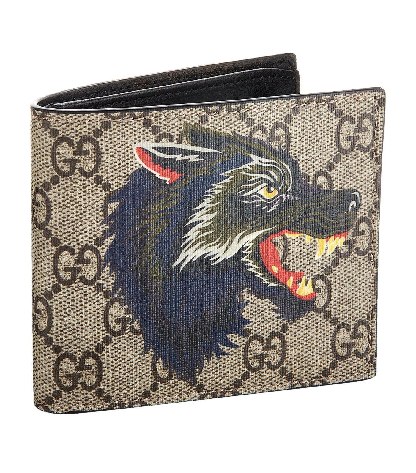 4b3dcfe491c Gucci Wolf Printed Gg Supreme Classic Wallet In Beige Multi