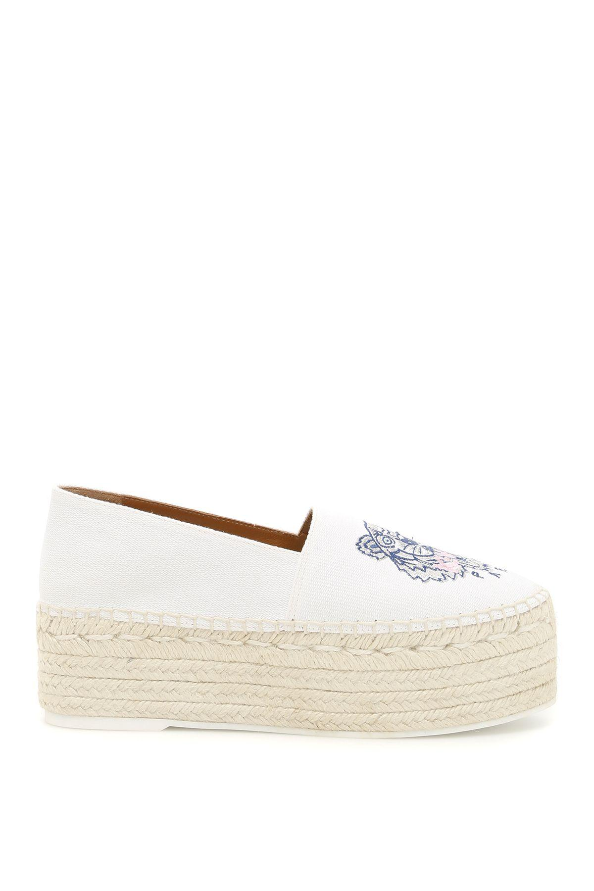 d7201293 Kenzo Women's Tiger Embroidered Platform Espadrille Flats In White ...