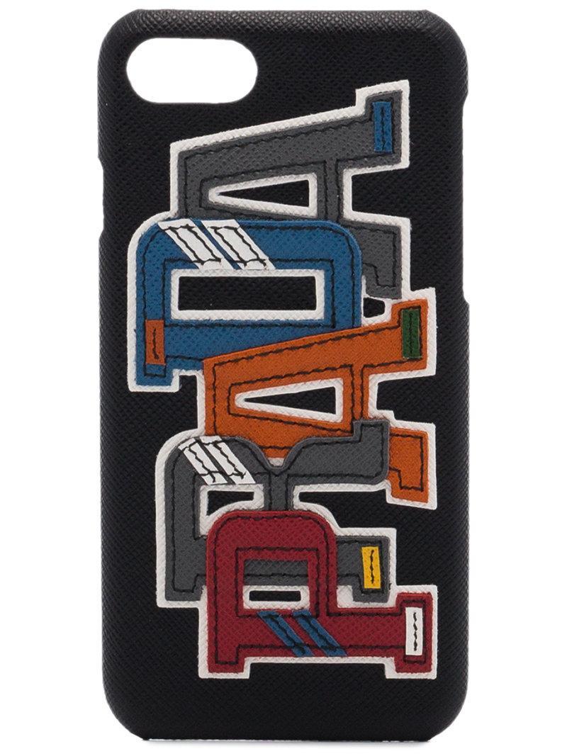 916b8e971ec9 Prada Black Saffiano Character Logo Iphone 7 Plus   8 Plus Case ...