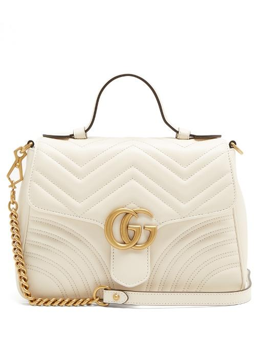 c437c2ff7f17 Gucci Gg Marmont Small Quilted Leather Shoulder Bag In White | ModeSens