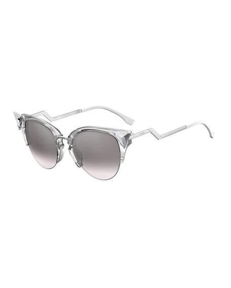 2eae1b50a7e02 Fendi Iridia Cat-Eye Crystal-Tip Sunglasses