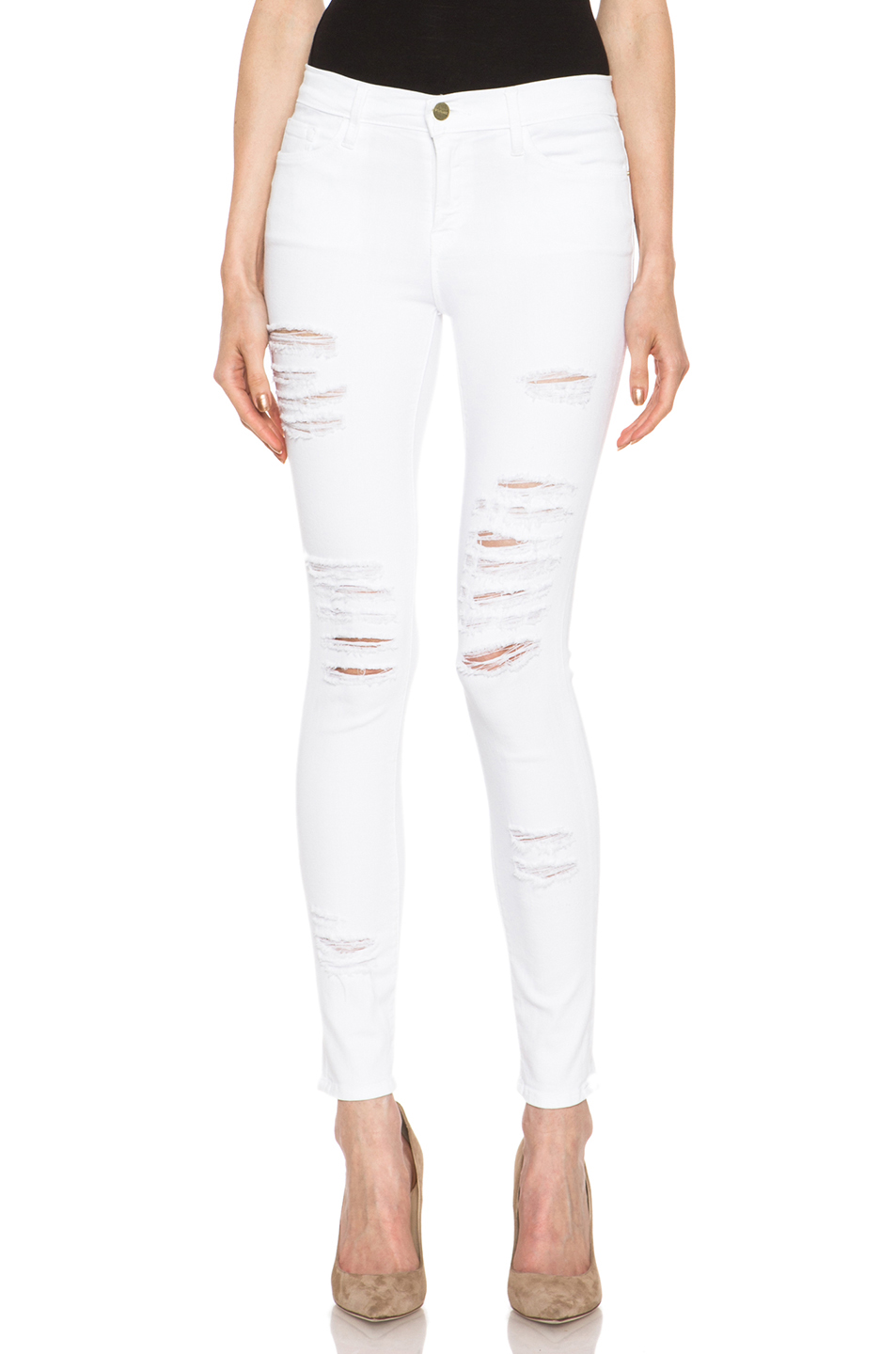 Frame Le Color Ripped Skinny Jeans - Blanc