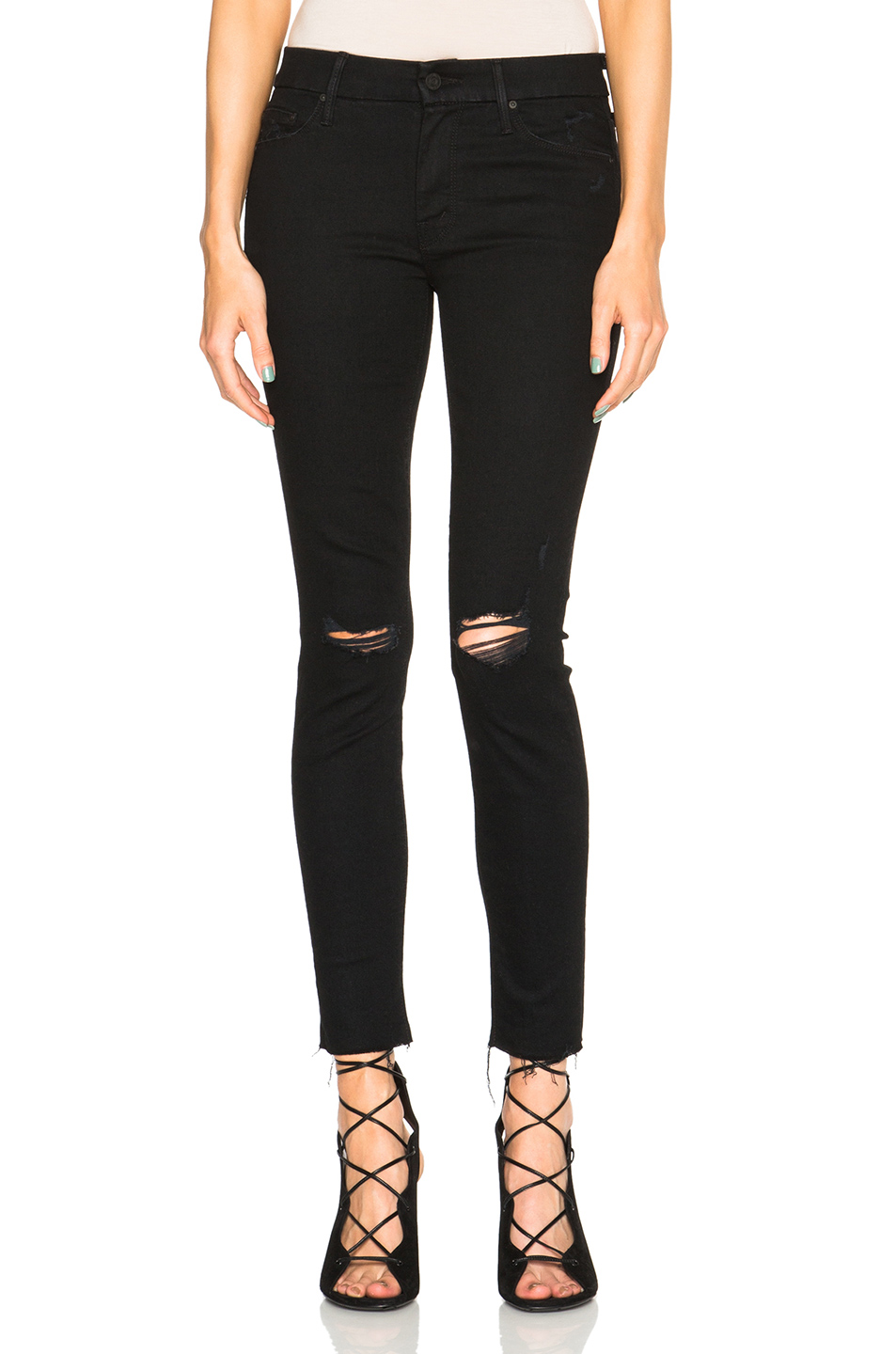 e0c95978f7fc Mother  The Looker  Frayed Ankle Skinny Jeans (Guilty As Sin) In ...