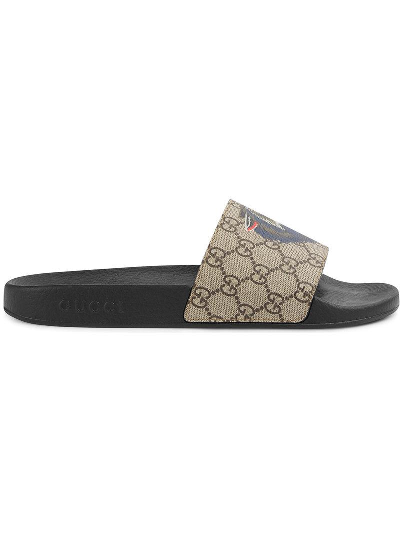 53bf506ad95 Gucci Logo-Print Canvas Slide Sandals - Beige