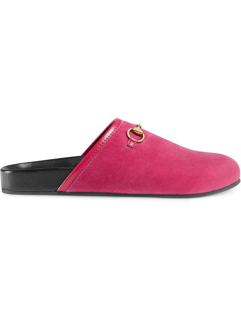 aa7803ede82 Gucci Women s New River Velvet Mules In Pink