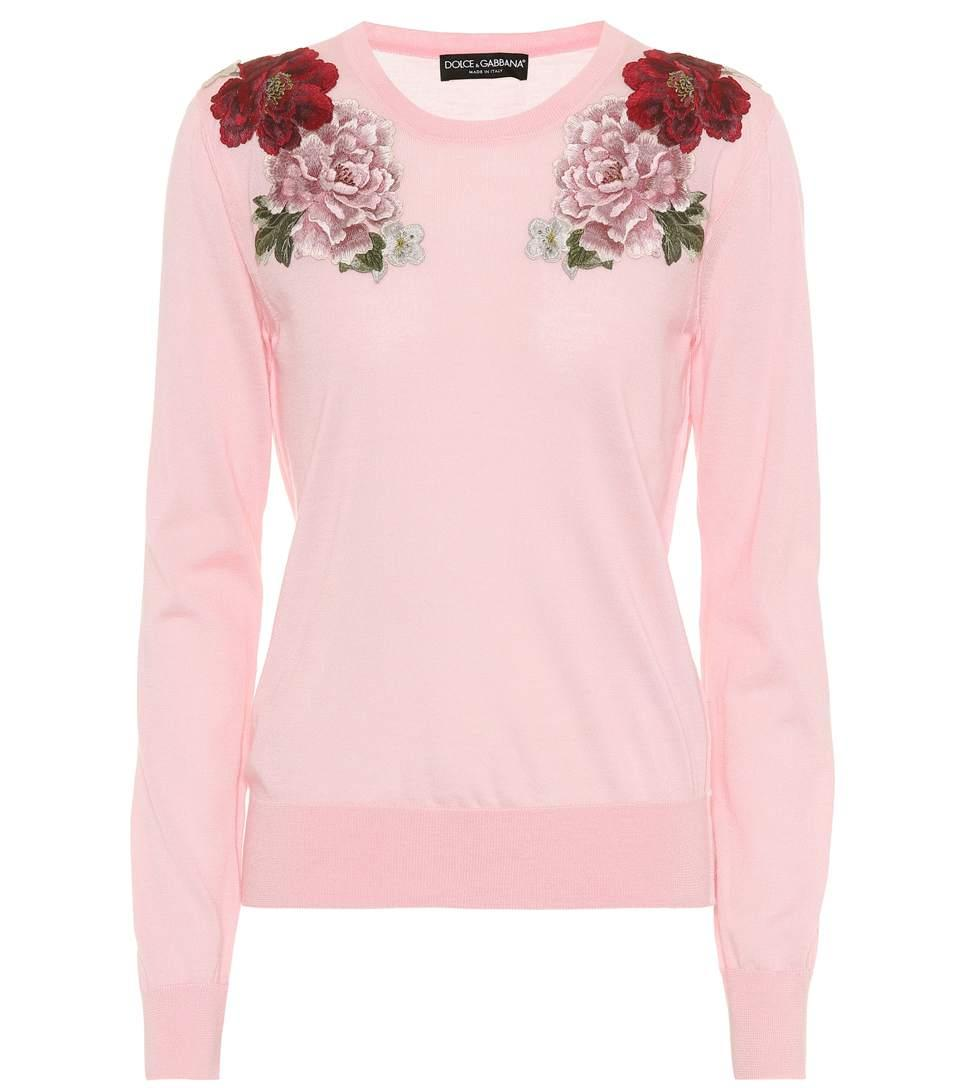 0a1de3abb3aee4 Dolce & Gabbana Crewneck Long-Sleeve Cashmere Sweater W/ Rose Applique In  Pink