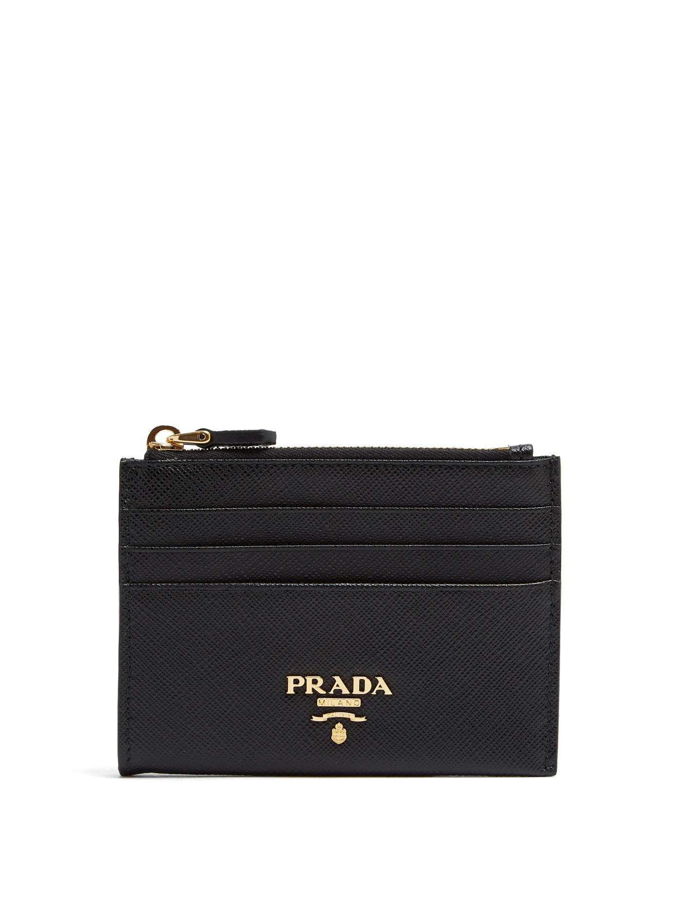 ffdbf72bb0e67 Prada Saffiano Leather Zip Card Holder In Black