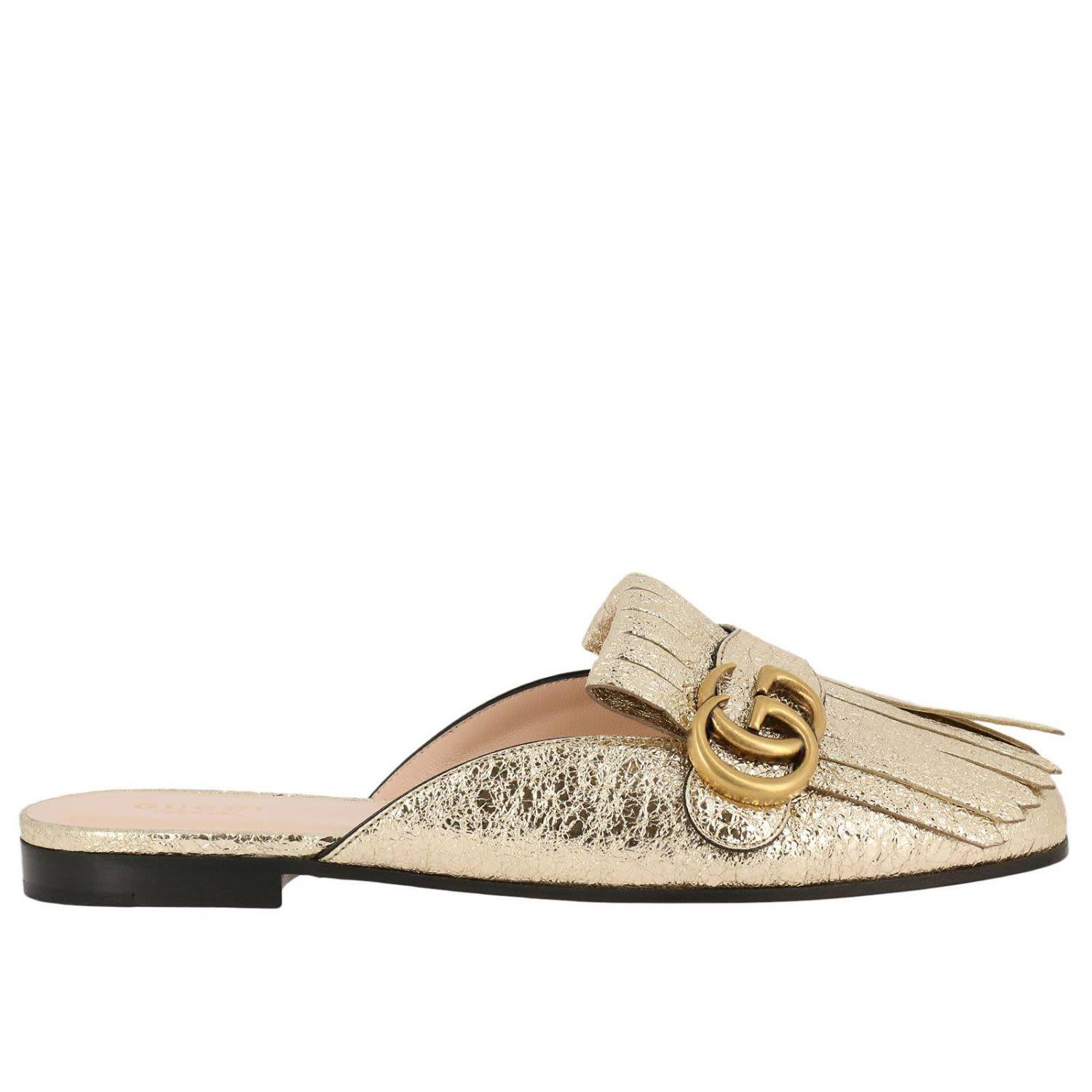 ff486573bcc Gucci Marmont Fringed Logo-Embellished Metallic Cracked-Leather Slippers In  Gold