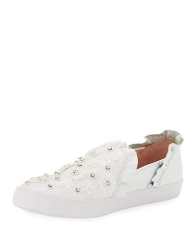 9afcc326205c Kate Spade Louise Floral-Embellished Sneaker In White