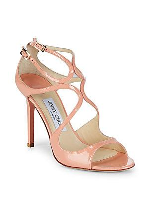 Jimmy Choo Lang Patent Leather Sandals In Cobalt