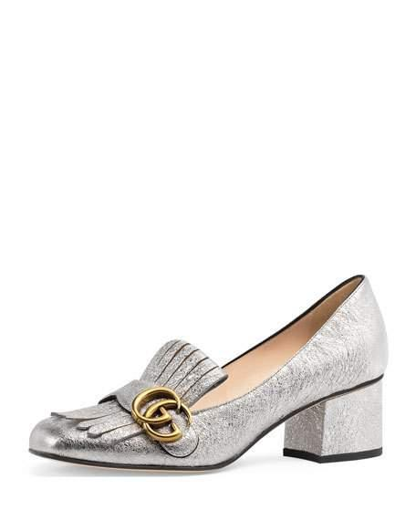 0474f4aa8 Gucci Women's Marmont Metallic Mid-Heel Pumps | ModeSens