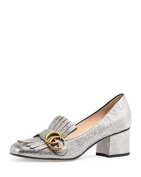 07f687e43 Gucci Women's Marmont Metallic Mid-Heel Pumps | ModeSens