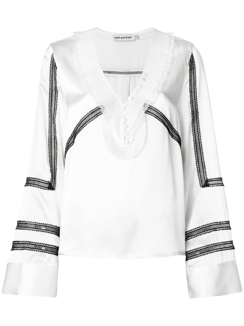 53bdf1524247 Self-Portrait Monochrome Trimmed Long-Sleeve Satin Shirt In White ...