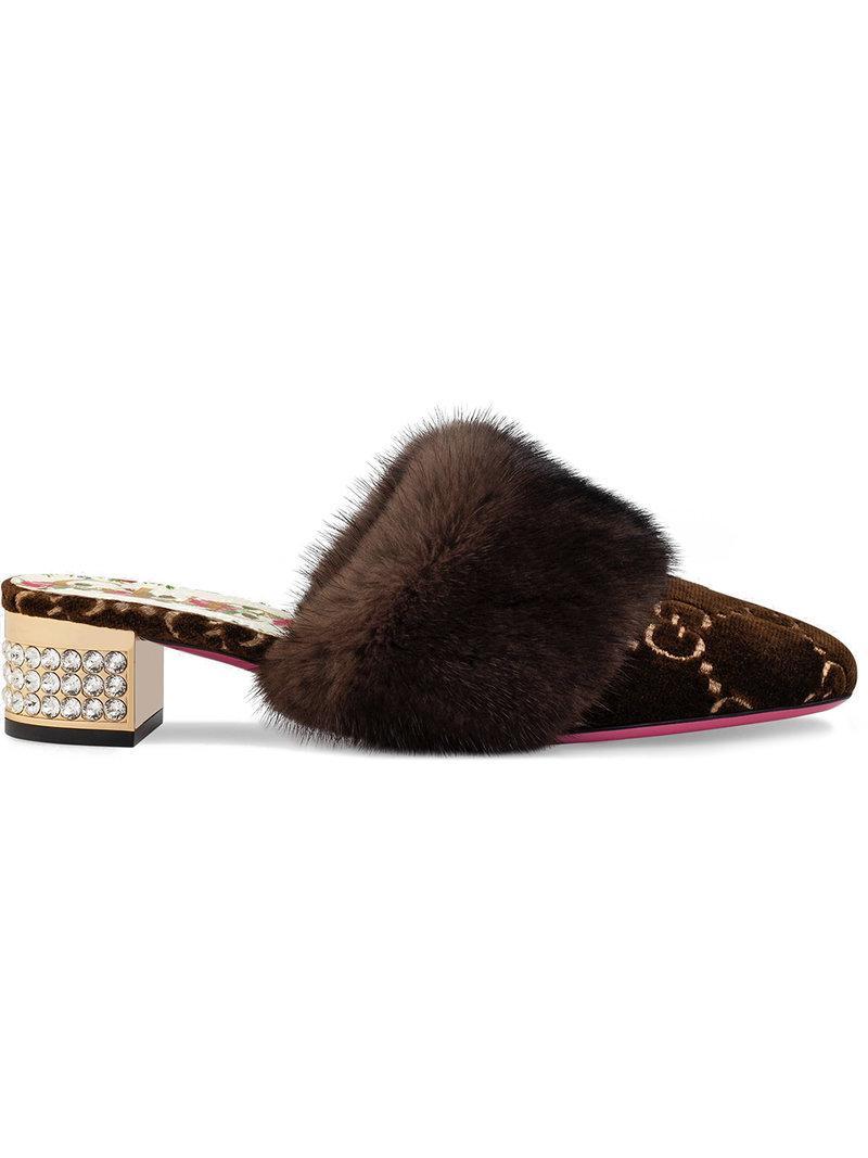 f3d9d9c2439 Gucci Women s Candy Velvet   Mink Fur Embellished Mules In Brown ...