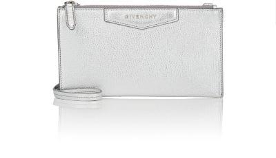 2a3e6f74713 Givenchy Antigona Medium Metallic Leather Crossbody Pouch Bag In Silver
