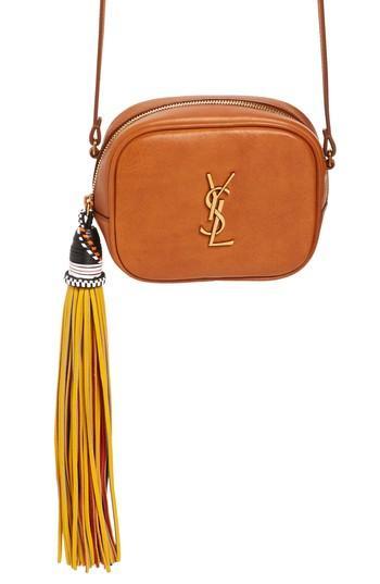 be198d238a69 Saint Laurent Monogram Blogger Calfskin Crossbody Bag - Brown