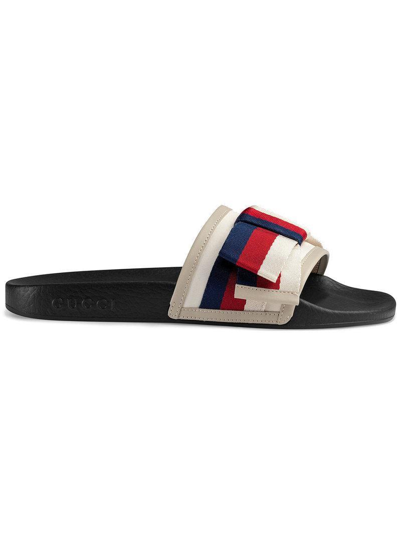 9fb0c3e025dd Gucci Women s Pursuit Satin Bow Pool Slide Sandals In 9620 Bianco ...