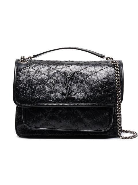 Saint Laurent Niki Medium Quilted Crinkled Glossed-leather Shoulder Bag In Black