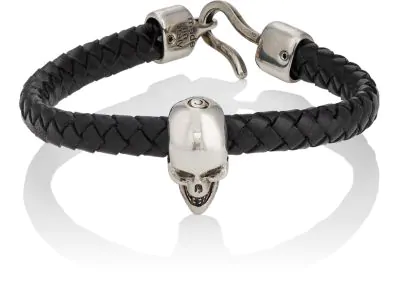 Alexander Mcqueen Braided Leather And Burnished Silver-Tone Skull Bracelet In Black