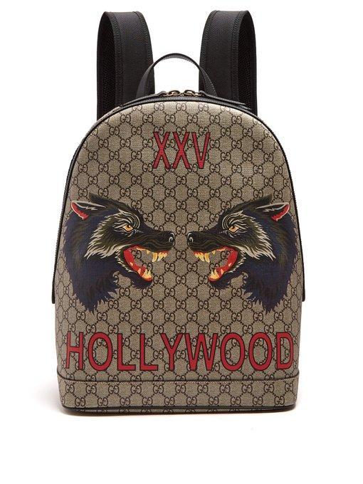 6458154e6 Gucci Wolf-Print Gg Supreme Backpack - Beige, Tan In Neutrals   ModeSens