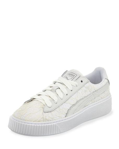 6ee026e57e9 Puma Women s Basket Classic Floral Lace Lace Up Platform Sneakers In White