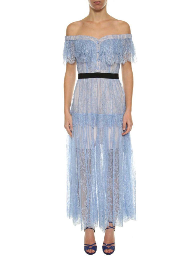 1ad1986d75db9 Self-Portrait Self Portrait Women's Light Blue Off The Shoulders Fine Lace  Dress