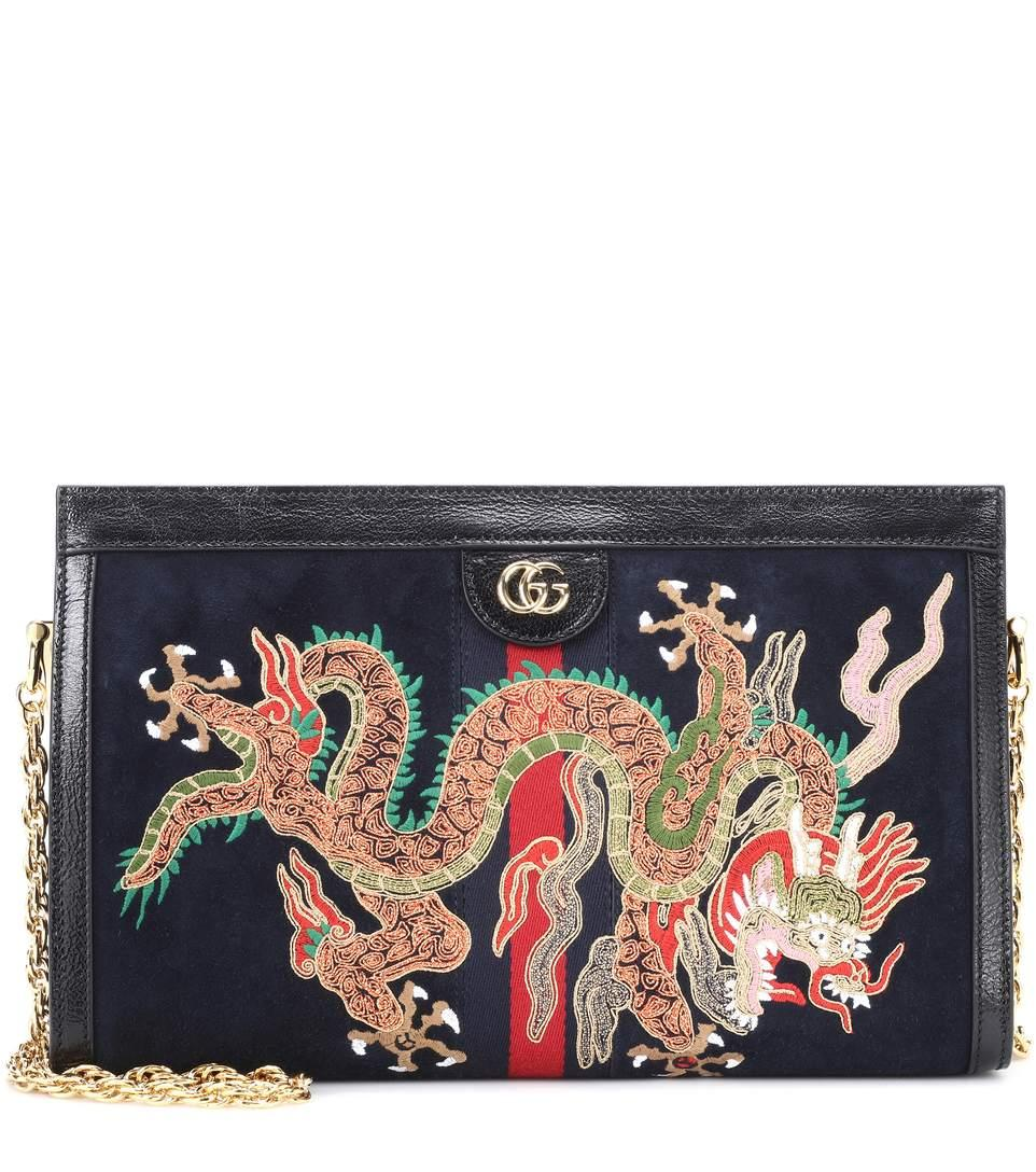089037dd166 Gucci Ophidia Embroidered Medium Shoulder Bag In Blue Suede In Midnight Blue