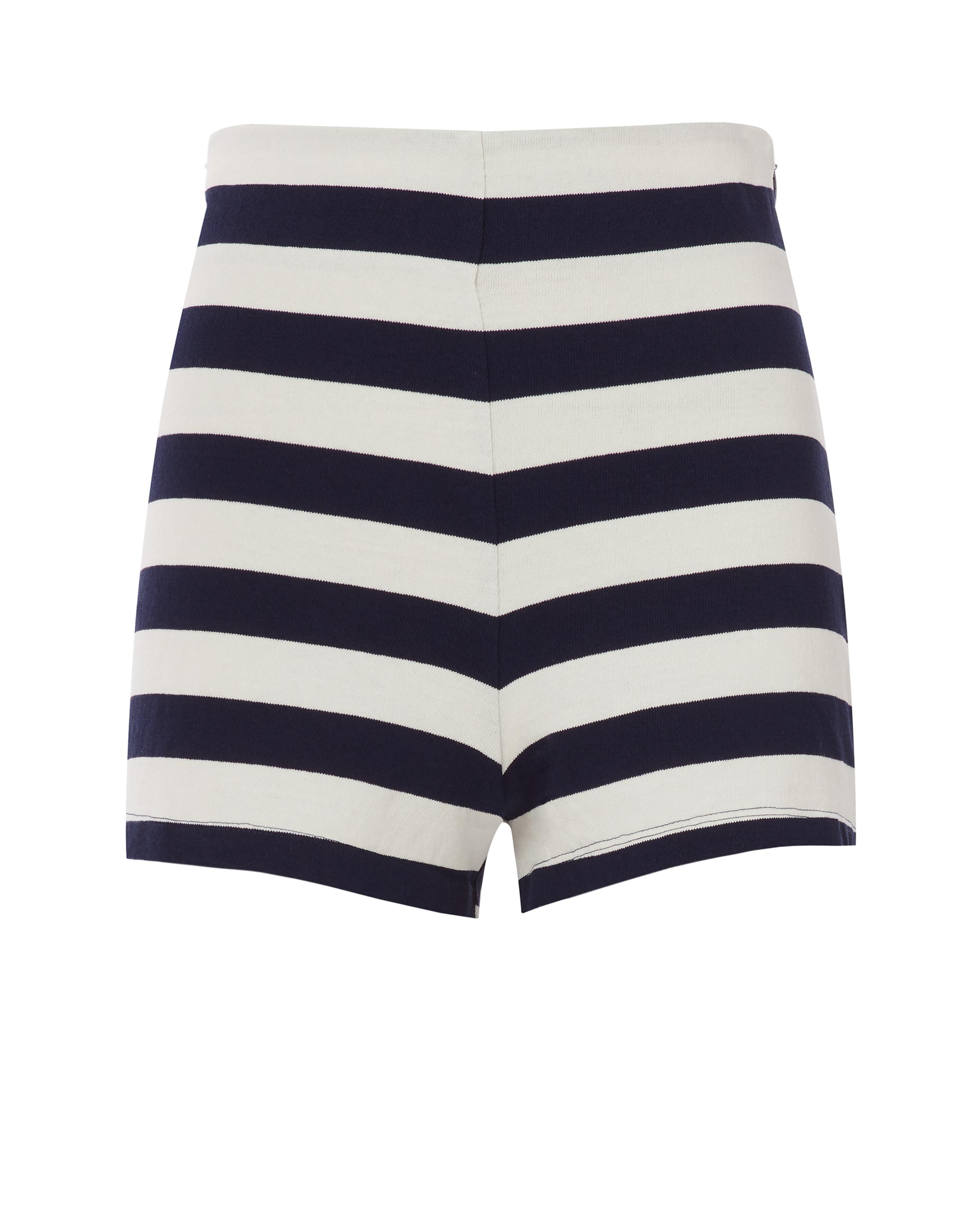 9e5a4b6466a2 Mds Stripes Lucy Striped Stretch Cotton-Jersey Shorts In Midnight Blue