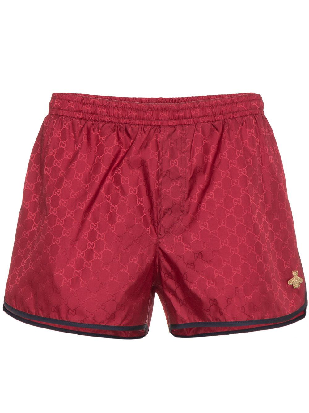 d649a81a25 Gucci Bee-Embroidered Logo Swim Trunks In Red | ModeSens