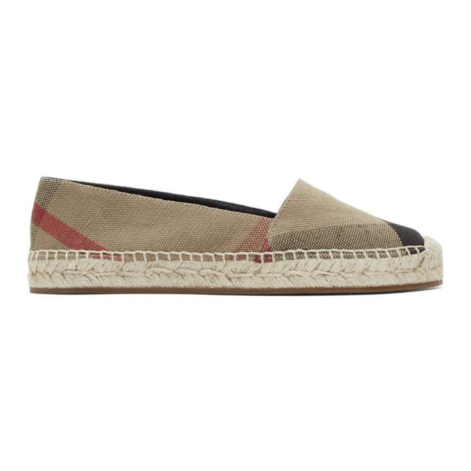 Burberry Checked Canvas Espadrilles In Beige