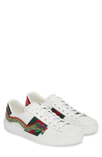 98fcc4a87 Gucci Ace Watersnake-Trimmed Embellished Leather Sneakers In 9064 Ivory