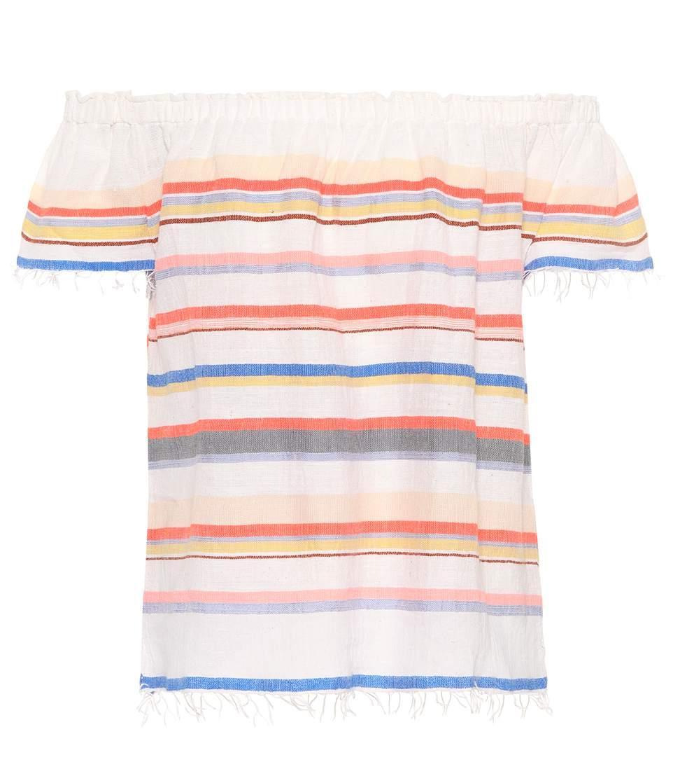 f9bf0d89b327 Lemlem Yodit Off-The-Shoulder Striped Cotton-Blend Gauze Top In Coral