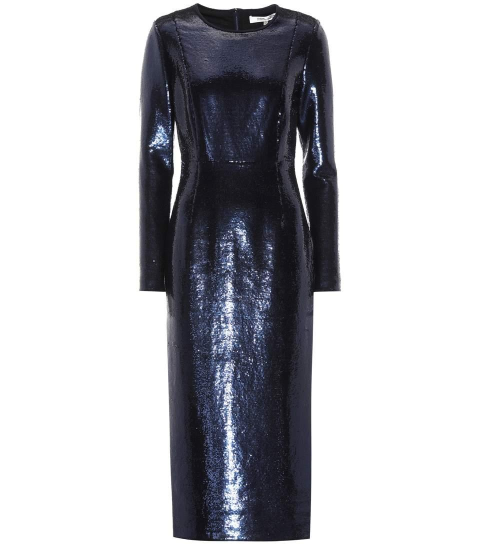 a738b02e Diane Von Furstenberg Sequin-Embellished Midi Dress In Navy | ModeSens