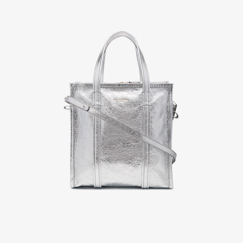 Balenciaga Bazar Leather Shopper Xs Aj Tote Bag In Grey