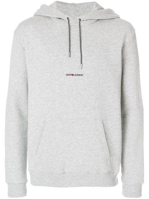 Saint Laurent Logo-print Mélange Loopback Cotton-blend Jersey Hoodie In Grey