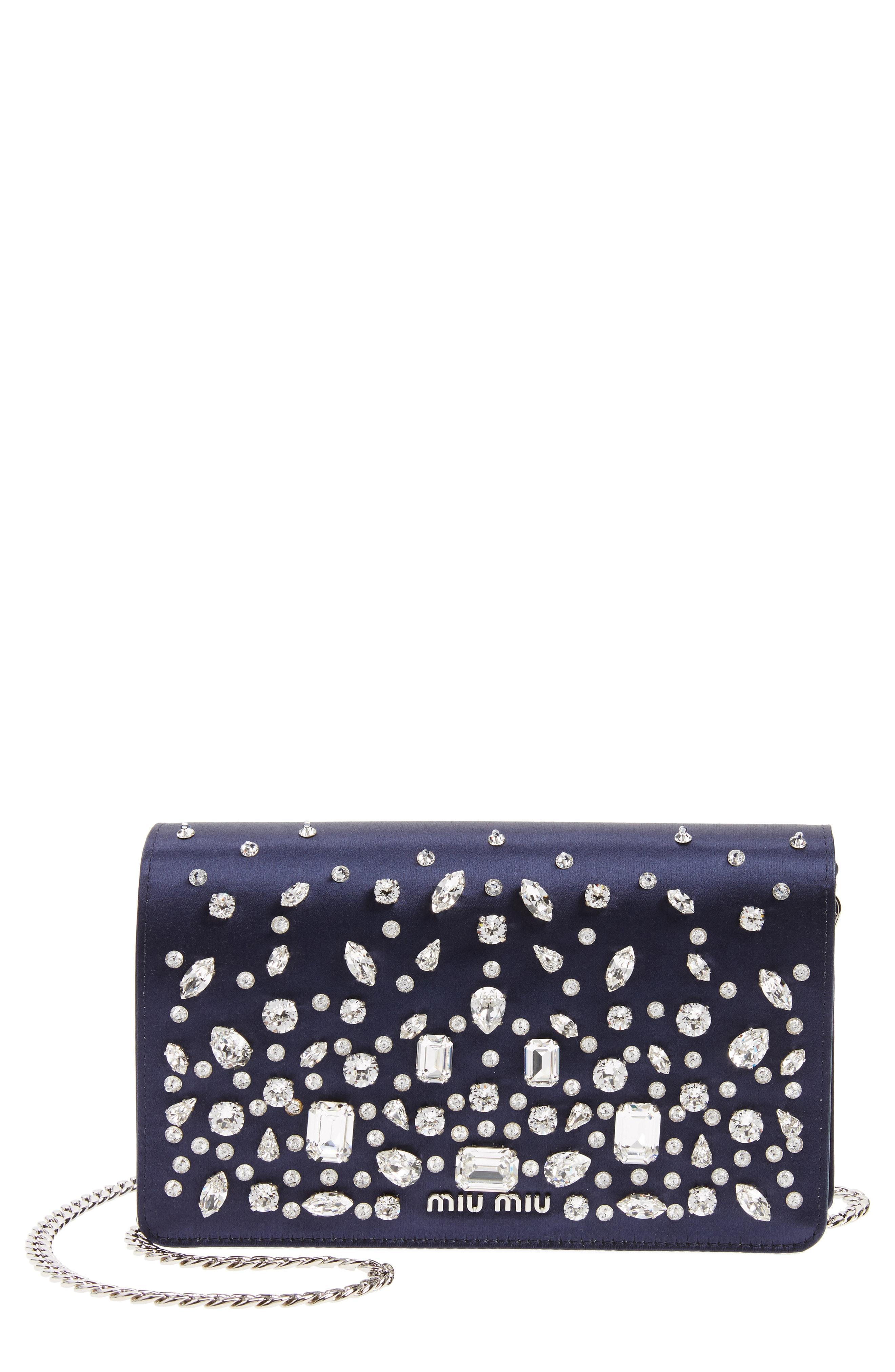 18593435072 Miu Miu Swarovski Crystal Embellished Shoulder Bag - Blue In Baltico ...