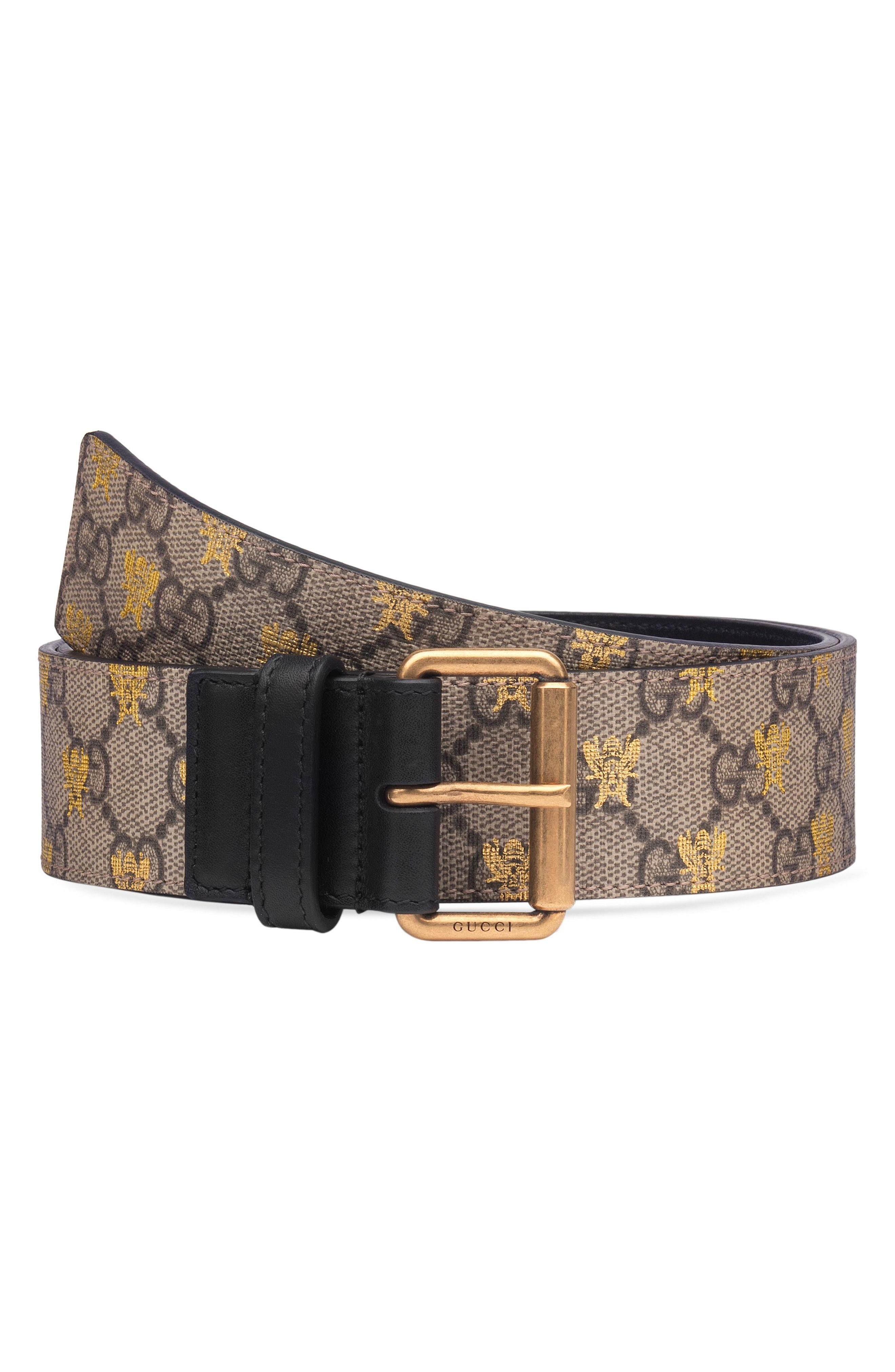30a37e5ca Gucci Formal Squared Gg Supreme Canvas Bee Belt In Beige Ebony/ Nero ...
