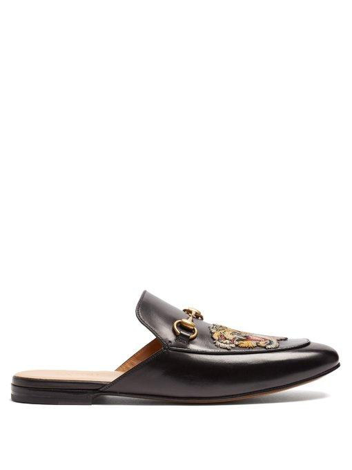 cdc68aab7 Gucci Princetown Tiger-AppliquÉ Leather Backless Loafers In 1000 Nero