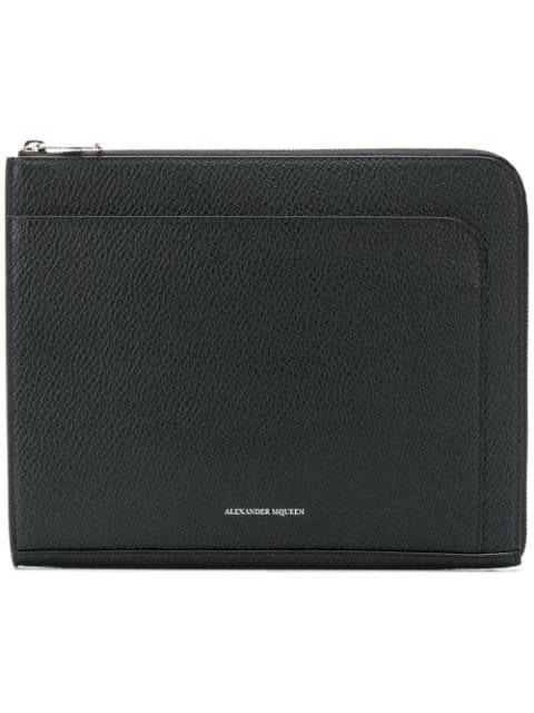 Alexander Mcqueen Zip-around Leather Pouch In Black