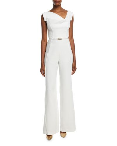 2414d988 Black Halo Jackie Cap-Sleeve Belted Wide-Leg Jumpsuit In White ...