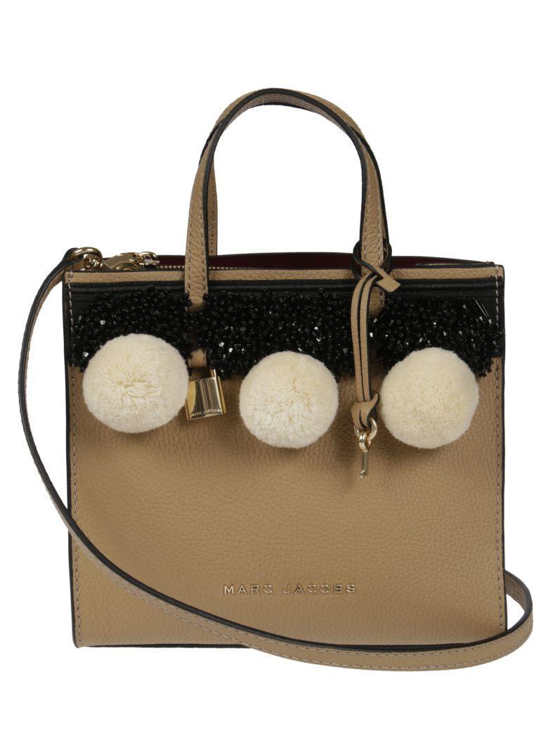 502f3840e57de Marc Jacobs Beads   Pom Poms Little Big Shot Leather Tote In Beige ...