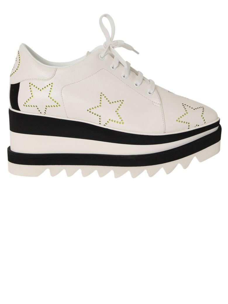 0fce66ef340 Stella Mccartney Sneak-Elyse Lace-Up Perforated-Star Platform Shoes In White