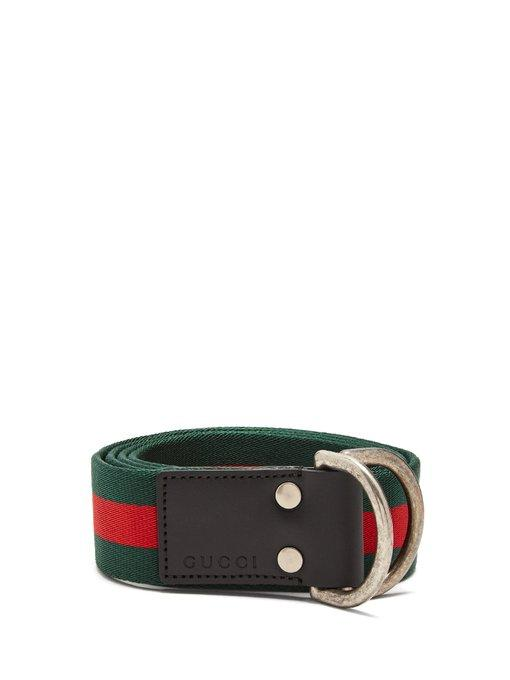 f8a9e4ed586 Gucci D-Ring Striped Canvas Belt In 1060 Green Red