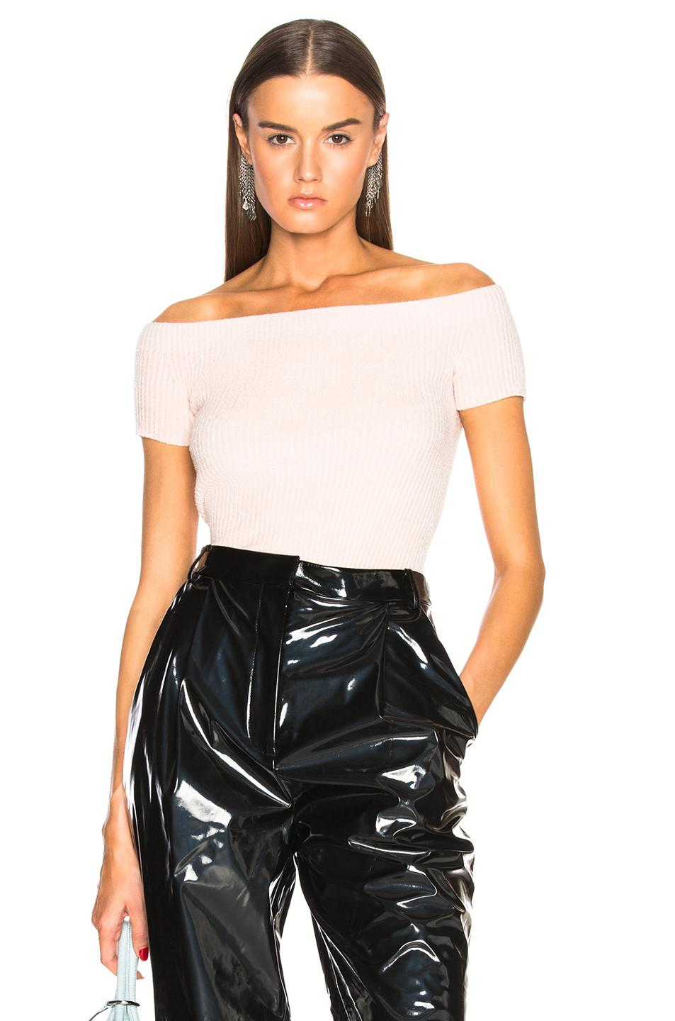 2354a1b4b8bbe3 Helmut Lang Rib-Knit Chenille Off-The-Shoulder Top In Flamingo ...