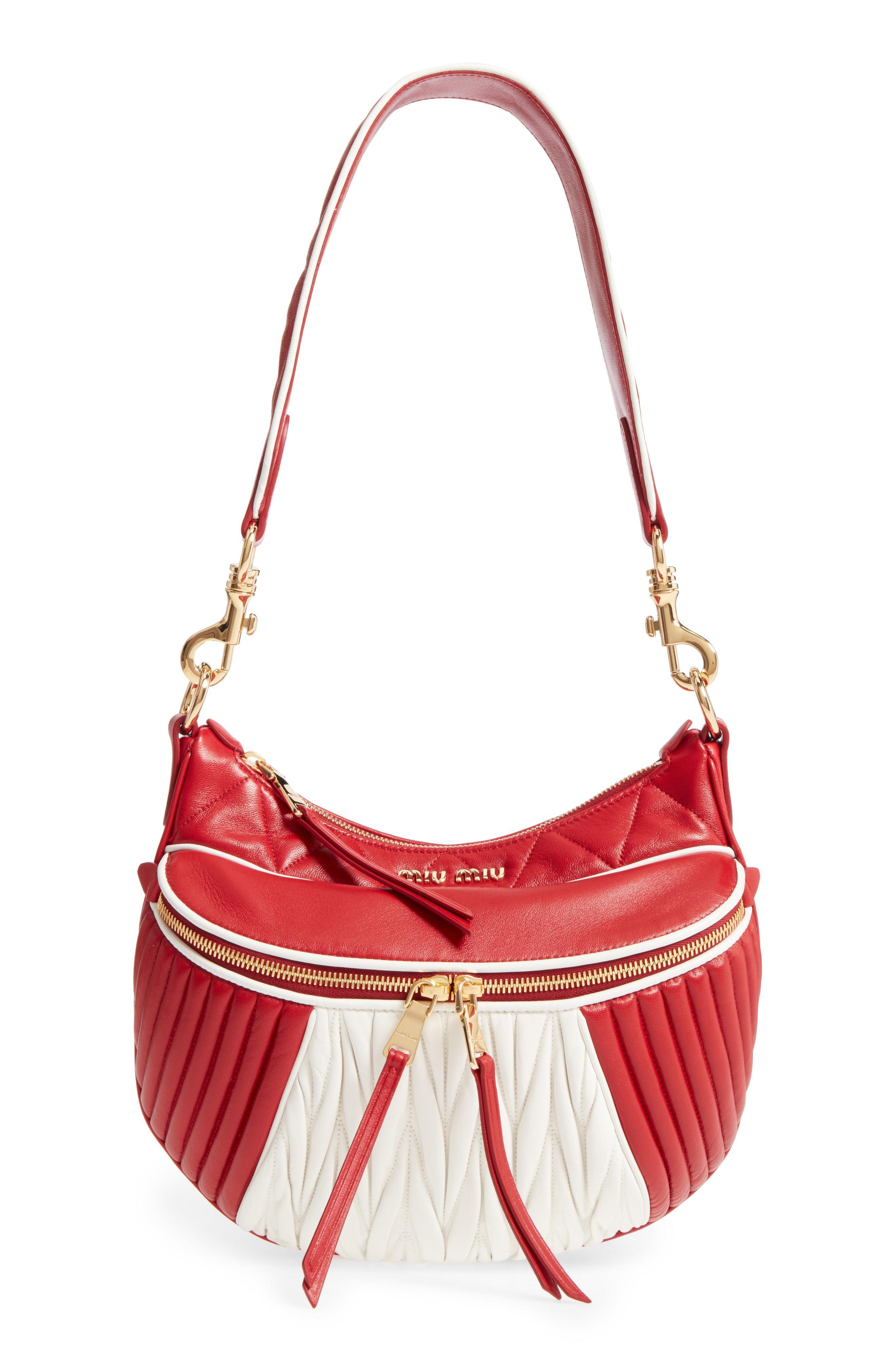 Miu Miu Small Rider Matelasse Leather Shoulder Bag - Red In Fuoco  Bianco f996e0b867189