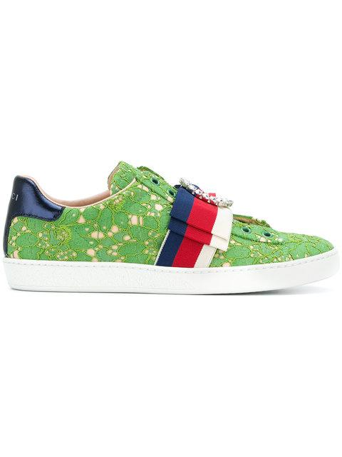 Gucci Ace Lace Sneakers In Green